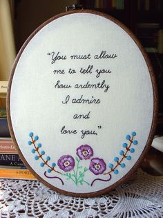 Mr. Darcy's Love / Pride & Prejudice - embroidery pattern by Little Dorrit & Co!