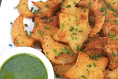 Whimsical Roasted Potatoes with Basic/Chive Dipping Sauce