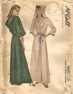 Katharine Hepburn wears one in The Philadelphia Story! 1940s Negligee Robe with Hood Cosplay LARPing Full by kinseysue