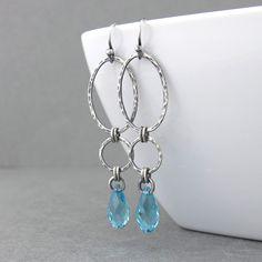 Long Earrings Turquoise Earrings Silver Drop Earrings Sterling Silver Earrings December Birthstone Jewelry Gift for Women - Adorned Aubrey