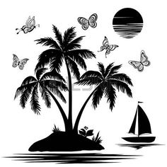 palm tree black white: Tropical sea island with palm trees and flowers, ship, butterflies and sun  Set black silhouettes and contours on white background   Illustration