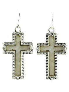 CROSS crystal stone drop earrings