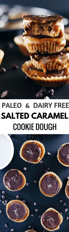 Healthy Paleo Salted Caramel Cookie Dough Chocolate cups. Easy to make paleo snacks for on the go! Best gluten free desserts, cookies, and snacks.
