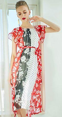 3af19995eb Fashion Polka Dot O-Neck Flare Sleeve Lacing Skater Dress Tablecloths
