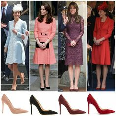 Catherine, The Duchess of Cambridge 's Gianvito Rossi shoes :: 1. Gianvito 105 suede pumps in antique rose -$675 / £450 2. Gianvito 105 suede pumps in black -$675 / £450  3. Gianvito 105 suede pumps in bordeaux – $675 / £450 4. Gianvito Rossi 105 pumps in dark red – £445 / $670