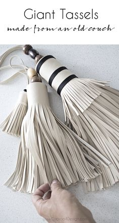 Giant DIY tassels made from my old sofa - Cuckoo4Design