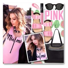 """""""Pink"""" by stylemoi-offical ❤ liked on Polyvore featuring Victoria's Secret PINK, NARS Cosmetics, Julien David, Chantecaille and Mykita"""