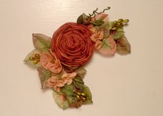 Hey, I found this really awesome Etsy listing at https://www.etsy.com/listing/211102264/fall-copper-rose-thanksgiving-ribbonwork