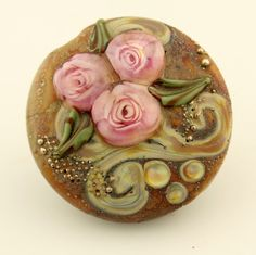 Lampwork Bead  Floral Lentil Focal  Etched by StoneDesignsbySheila