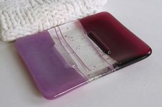 Glass Soap Dish in Cranberry and Pink