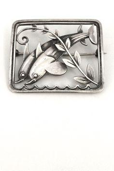 Georg Jensen, Denmark - vintage sterling silver dolphins brooch #251 by Arno Malinowski #brooch #Denmark #Georg-Jensen
