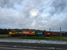 Train crossing the rail crossing at Mangaweka New Zealand, Trains, My Photos