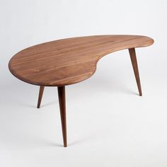 Kidney Bean Mid-Century Modern Coffee Table. Handcrafted in the USA from Solid Wood