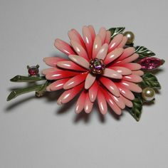 Large Vintage Lisner Pink Flower Brooch with Rhinestone Accents
