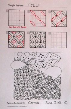 Zentangle, Tylli, by Chrissie Tangle Doodle, Tangle Art, Zen Doodle, Doodle Art, Zentangle Drawings, Doodles Zentangles, Doodle Drawings, Doodle Patterns, Zentangle Patterns