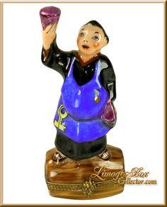 Wine Maker Monk on Wine Barrel Limoges Box (Retired).