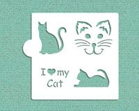 I Love My Cat Cookie and Craft Stencil