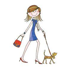 dibujo de chica paseando su perro