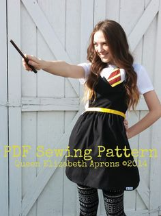 Adult HARRY POTTER Costume Apron Pdf Sewing PATTERN. Fits women 0-12 Gryffindor house inspired Dress up Birthday Party Photo Hogwarts School
