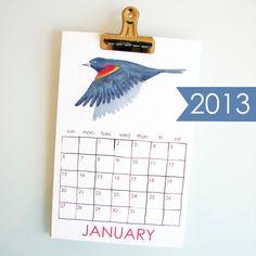 Nature Calendar 2013 - small illustrated wall calendar - birds, animals, New England. $22.00, via Etsy.
