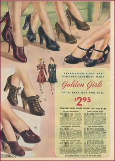 Chicago Mail Order 1940/40 | New Vintage Lady color photo illustration print ad shoes pumps heels 30s transition sandals blue red green fashion style women ladies