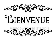 French Country Bienvenue Damask Scroll Stencil-- 5mil Matte Mylar Stencil. Great for stenciling on fabric, paper, and walls!