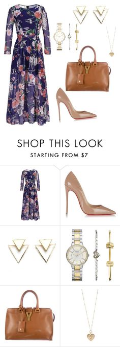 """""""Untitled #4"""" by latisha-morris ❤ liked on Polyvore featuring beauty, Christian Louboutin, FOSSIL, Yves Saint Laurent and Betsey Johnson"""
