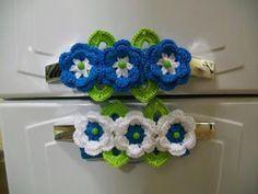Crochê Gráfico: Flores de crochê para enfeitar puxadores de porta de geladeira