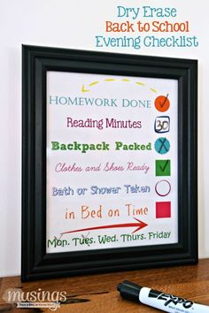 Dry Erase Back to School Evening Checklist - Musings From a Stay At Home Mom
