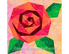 Rosie's Rose quilt block, rose quilt patterns, paper piecing quilt patterns, flower quilt patterns, rose patterns, PDF pattern, by PieceByNumberQuilts on Etsy https://www.etsy.com/listing/62446539/rosies-rose-quilt-block-rose-quilt