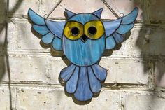 Stained Glass Bird, Owl Suncatcher in blue, gray and yellow, Window Haning… #StainedGlassOwl