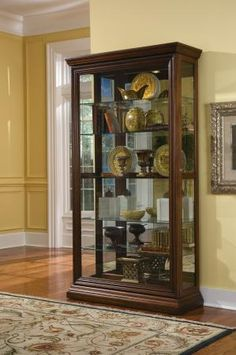 The Edwardian Sliding Door Curio and Display Cabinet by Pulaski Furniture is a beautiful display piece, crafted of sturdy hardwood solids and veneers in a rich Pulaski Furniture, Kitchen Furniture, Living Room Furniture, Home Furniture, Furniture Design, Furniture Ideas, Rustic Furniture, Pallet Furniture, Furniture Dolly