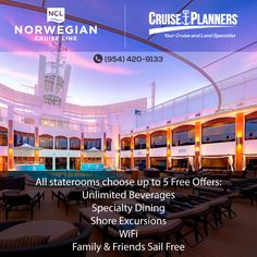 Norwegian Cruise Line Special Offers: Choose up to five options:  -Beverage package  -Specialty dining package -Shore excursions  -Internet package  -3rd/4th guests sail free $50 reduced deposits for mini-suites and below, Up to $500 onboard credit on select sailing Call now: 954-420-9133 or email us at jhantman@cruiseplanners.com. For more information, go to http://www.landcruisetravel.com  #landcruisetravel #cruiseplanners #destinations #mexico #tampa #spring #miami #bermuda #vacations…