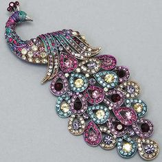 Amethyst and Multi other Color Crystal Peacock Brooch, 2
