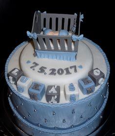 torta, cake krstinová s kolískou