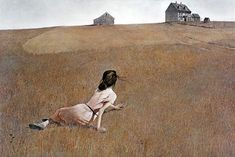 Christina's World by Andrew Wyeth. It depicts Christana Olson, who had polio, lying on the ground in a treeless, mostly tawny field, looking up at and crawling towards a grey house on the horizon.