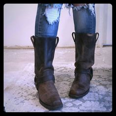 Frye Boots I am selling an amazing, exceptional pair of Frye Boots, featuring a square toe and supple, soft brown leather.  These are the boots you MUST HAVE!!!  Excellent condition, distressing was intentional. Frye Shoes