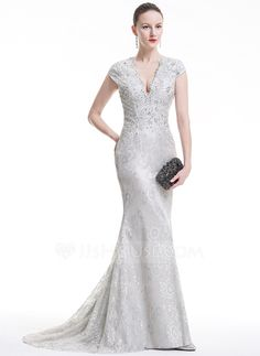 Trumpet/Mermaid V-neck Sweep Train Beading Sequins Zipper Up Cap Straps Sleeveless No Silver Spring Fall General Plus Lace Evening Dress