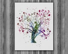 Watercolour paintings – Printable Tree of Life Watercolor art print poster – a unique product by Irene913 on DaWanda