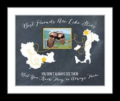 Custom Best Friend Gift Personalized Birthday Maps Or by Picmats