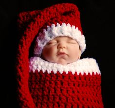 Santa cocoon hat set baby hat stocking hat  by BitofWhimsyCrochet, $49.99