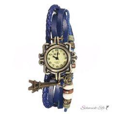 Leder Armbanduhr Eifelturm VINTAGE Royal blau  im Organza...