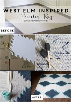 west-elm-inspired-painted-rug-upcycledtreasures - Home Decor Diy Cheap Home Crafts, Diy Home Decor, Diy And Crafts, Diy Hacks, Do It Yourself Inspiration, Rug Inspiration, Boutique Deco, Painted Rug, Ideias Diy