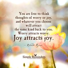 You are free to think thoughts of worry or joy. Whatever you choose will attract the same back to you. Go for joy! Joy Quotes, Great Quotes, Life Quotes, Quotes About Joy, Happiness Quotes, Random Quotes, Happy Quotes, Funny Quotes, Simple Reminders Quotes