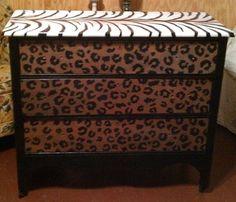 Handpainted zebra and cheetah print dresser Diy Furniture Hacks, Home Furniture, Bedroom Themes, Bedroom Ideas, Cheetah Bedroom, Animal Print Furniture, My Room, Spare Room, Refurbished Furniture