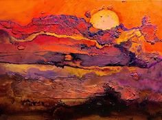 "Sunset Mixed Media Painting ""Overview 2"""