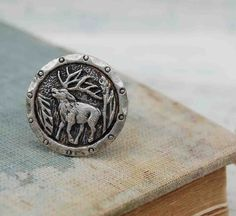 Deer RING Vintage Pewter Button Ring Forest by redtruckdesigns, $17.00