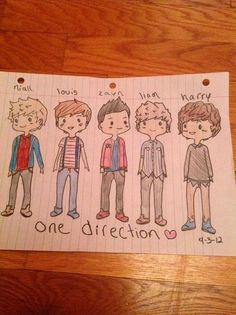 One Direction Cartoon Drawings by ~ScarIsMe
