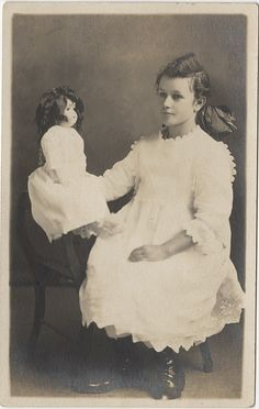 A Girl in White with Her Doll - Real Photo Postcard by Photo_History, via Flickr