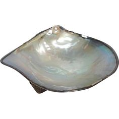 Pearl Oyster Shell Dish with Sterling Japanese from antiquesofriveroaks on Ruby Lane